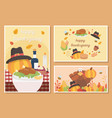happy thanksgiving celebration card food turkey vector image vector image