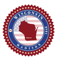 label sticker cards state wisconsin usa vector image