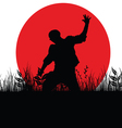 man jump in nature silhouette vector image vector image