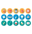 Medicine icons set in flat design with long shadow vector image vector image