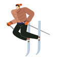 mountain skiing sport man on skies with sticks vector image