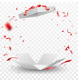 open box with red confetti vector image vector image