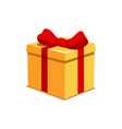 orange present box with red bow for holiday or vector image
