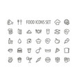outline food simple icons set vector image