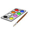 paint palette with brush school doodle style vector image
