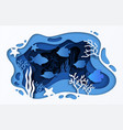 paper cut sea background underwater ocean coral vector image vector image