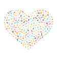 pattern heart with letters of the alphabet vector image vector image