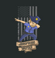 police dabbing with american flag background vector image