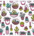 potted cactus hand drawn seamless pattern vector image