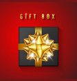 realistic black gift box with golden bow and vector image vector image