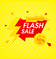 red flash sale up to 50 off yellow background vec vector image