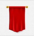 red pennant 3d realistic empty textile hanging vector image vector image