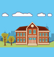 school building with landscape vector image vector image