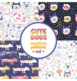 seamless patterns set with multicolored dogs vector image vector image