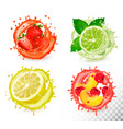 set fruit in juice splash strawberry mint vector image vector image