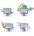 set of monitor character with gamer fishing school vector image vector image
