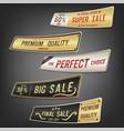 set sale labels and banner golden design vector image