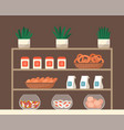 showcase with pastry like cookies and candies vector image vector image