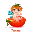 Sweet fairy with red tomato vector image