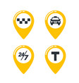 taxi service icons taxi map pins with checkers vector image