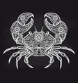 vintage ornate crab on blackboard vector image vector image