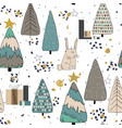 winter forest seamless pattern background vector image