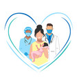 woman after childbirth with baby vector image vector image