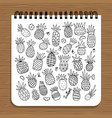 notebook design pineapples sketch vector image