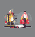 team firefighters characters vector image