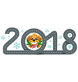 2018 year of yellow dog in chinese calendar road vector image vector image