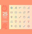 25 sports icon sports symbol outline icons for vector image vector image