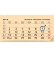 7 November 2015 International Mens Day Calendar vector image