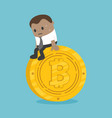 afraid of african business sitting on a coin with vector image