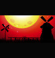 background scene with windmills in the field vector image vector image