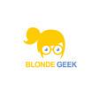 blonde geek logo vector image