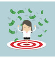 businesswoman standing on a big target vector image
