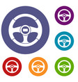 car steering wheel icons set vector image vector image