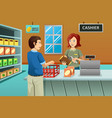 cashier working in the grocery store vector image vector image