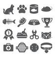 cat icons set on white background vector image