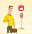 caucasian man waiting for a bus at the bus stop vector image vector image