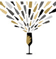 champagne glass with splash greeting card vector image vector image