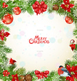 Christmas frame with pine twigs and flowers vector image vector image