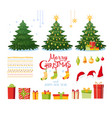 christmas set with decorative winter objects vector image