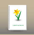cover of diary notebook with ring spiral narcissus vector image vector image