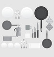 creative black and white kitchen equipment for vector image vector image