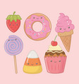 delicious and sweet products kawaii characters vector image vector image