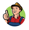 farmer with hat logo or symbol farm agriculture vector image vector image