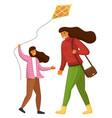 girl playing with kite mom holds bag on shoulder vector image vector image