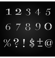 glossy silver font design set over black vector image