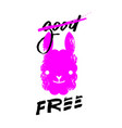 good and free slogan graphic with llama sign vector image